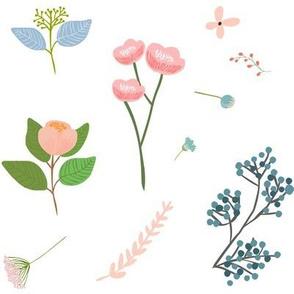 Misha's Flowers Pink & Blue - White