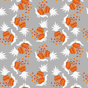 Sploding Summer Pineapples on Grey