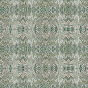 Dreamscape 1 -  Marbled Chevrons Reflected in Teal, Pink, Green and Mauve, small scale