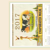 2017 Vintage Cow  Label calendar tea towel