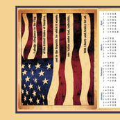 2017 US Flag Pledge calendar tea towel