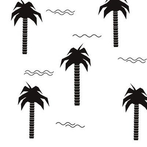 Palm trees - monochrome geometric black and white tropical trees summer waves || by sunny afternoon