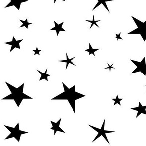 Stars - black and white, monochrome stars, night, baby, kids || by sunny afternoon