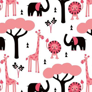 Quirky african zoo animals giraffe elephant and lion safari kids beige girls pink