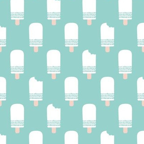 Scandinavian retro popsicle ice cream summer illustration pattern pastel blue