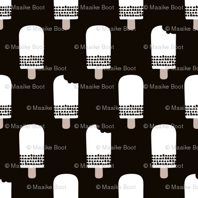 Scandinavian retro popsicle ice cream summer illustration pattern black and white