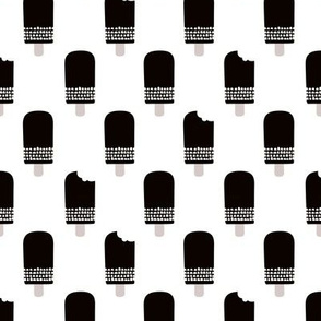 Scandinavian retro popsicle ice cream summer illustration pattern chocolate black and white
