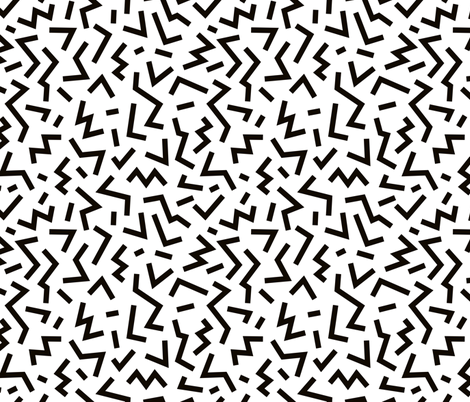 Super trendy geometric shapes squares stripes strokes and zigzag abstract memphis retro black and white fabric by littlesmilemakers on Spoonflower - custom fabric