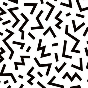 Super trendy geometric shapes squares stripes strokes and zigzag abstract memphis retro black and white