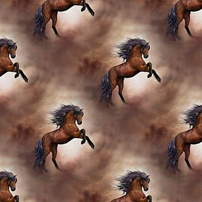 wild brown horse - painting effect