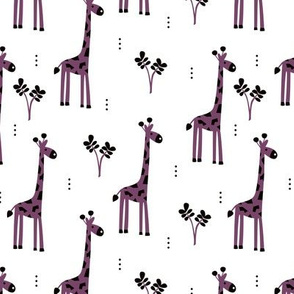 Quirky african zoo animals giraffe safari kids beige girls purple