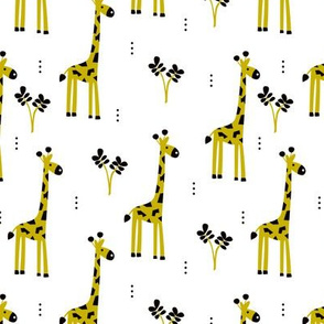 Quirky african zoo animals giraffe safari kids yellow genser neutral