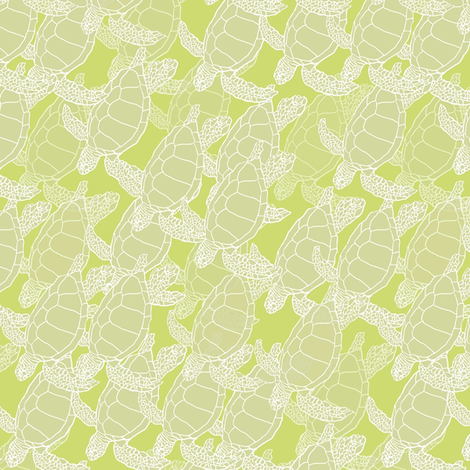 Tropical Green Turtle Migration-ed fabric by lauriekentdesigns on Spoonflower - custom fabric