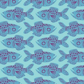 Sea Blue Fish Print