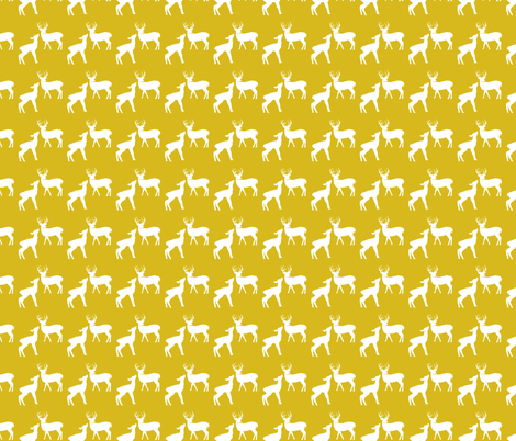 White & Yellow Deer in the Woods fabric by shopcabin on Spoonflower - custom fabric