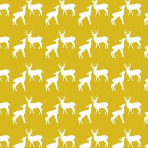 White & Yellow Deer in the Woods