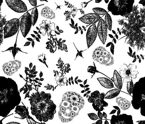 Black roses and  floral skulls graphic  fabric by mypetalpress on Spoonflower - custom fabric