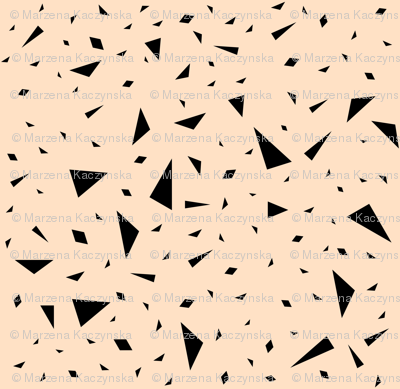 Scattered triangles - black on blush, peach, pastel, geometric || by sunny afternoon
