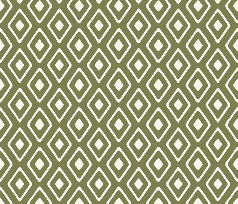 Diamond in Diamond - Ivory, Sage fabric by fernlesliestudio on Spoonflower - custom fabric