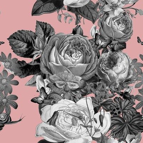 Vintage Rose Garden in Dusty Pink