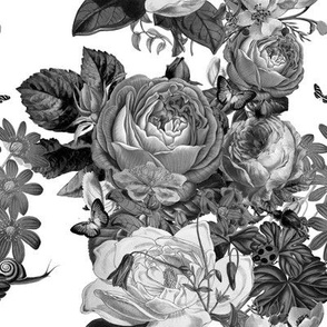 Vintage Rose Garden in Black and White