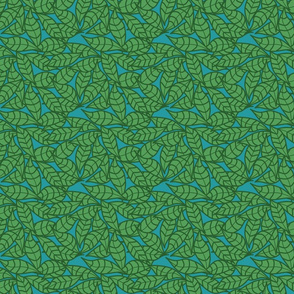 Graphic Leaves on Blue