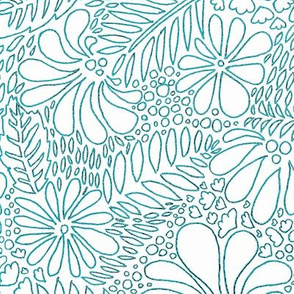 Tropical Floral - teal and white