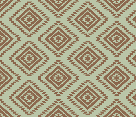 Aztec - Aloe, Brown  fabric by fernlesliestudio on Spoonflower - custom fabric