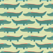 Tropical Jungle Green Pattern - Snap Snap Crocodile
