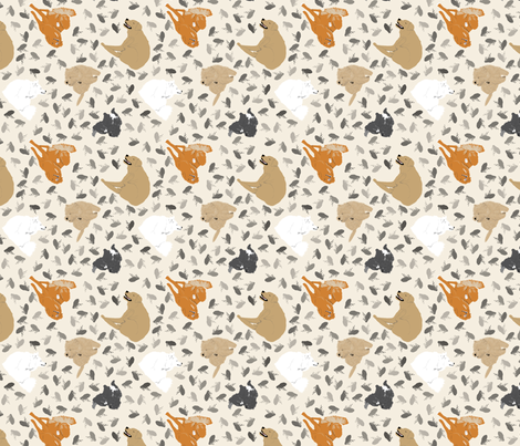 Tiny itchy dogs and fleas - tan fabric by rusticcorgi on Spoonflower - custom fabric