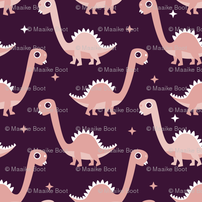Cool funny baby dinosaurs in purple pink for girls
