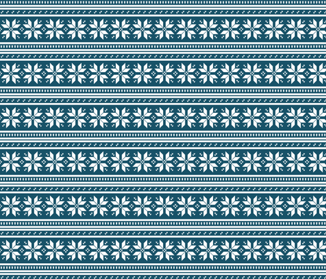 Nordic Snow Flower in Ocean fabric by nicolekatherine on Spoonflower - custom fabric