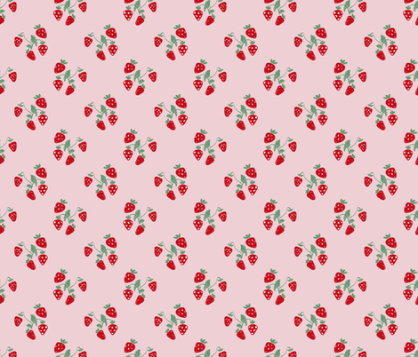 Sweet summer strawberry fruit colorful pastel mint pink red fabric by littlesmilemakers on Spoonflower - custom fabric