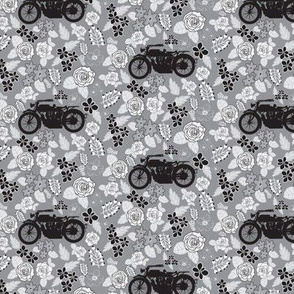 Vintage Motorcycle on Grey Floral // Extra Small-scale