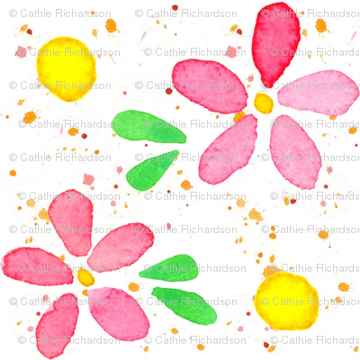 Pink Flowers and Dots