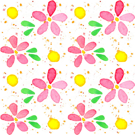 Pink Flowers and Dots fabric by countrygarden on Spoonflower - custom fabric