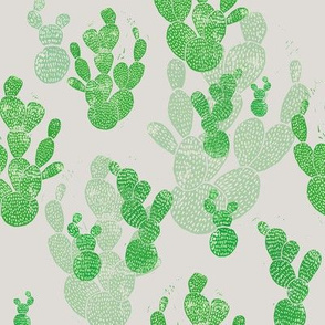 Linocut Cacti #1 pattern on grey