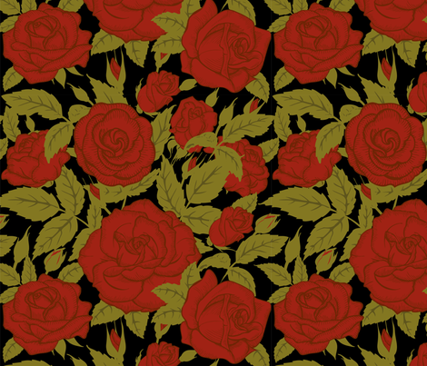 red roses fabric by minyanna on Spoonflower - custom fabric