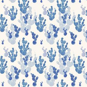 Linocut Cacti #1 pattern blue