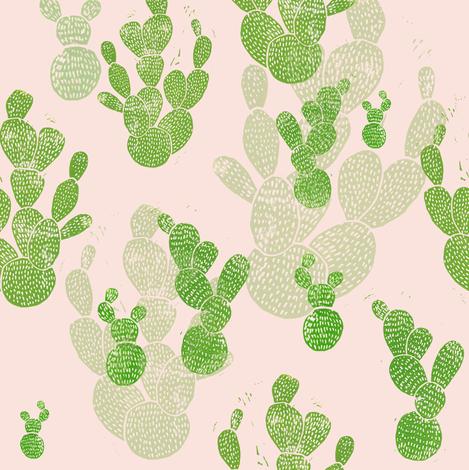 Linocut Cacti #1  fabric by biancagreen on Spoonflower - custom fabric