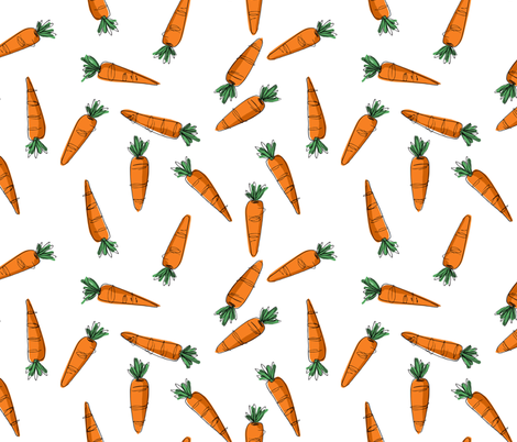 Wonky Carrots - orange fabric by mulberry_tree on Spoonflower - custom fabric