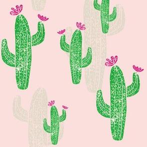 Linocut Cacti #2 pink