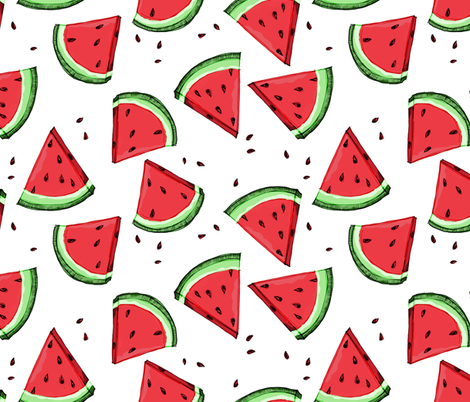 Wonky Watermelon fabric by mulberry_tree on Spoonflower - custom fabric