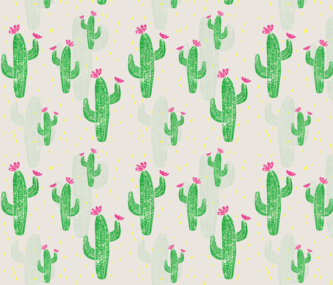 Linocut Cacti #2 confetti fabric by biancagreen on Spoonflower - custom fabric