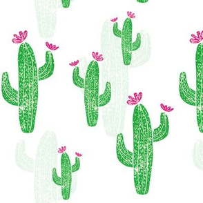 Linocut Cacti #2 white