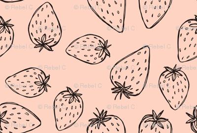 Wonky Strawberry, mono on pink