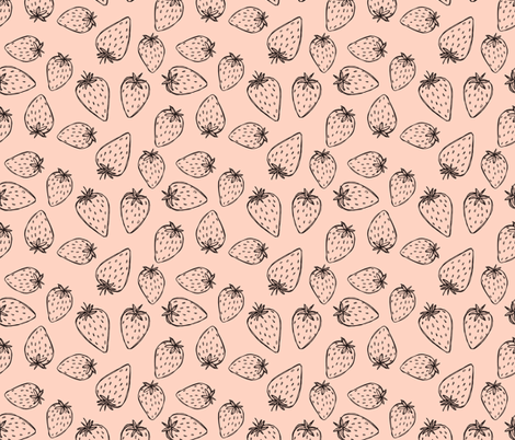 Wonky Strawberry, mono on pink fabric by mulberry_tree on Spoonflower - custom fabric