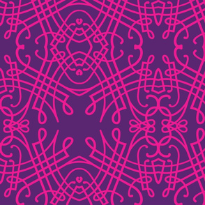 Pink and Purple Calligraphic Pattern