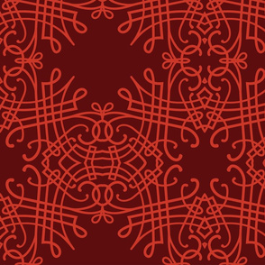 Red and Orange Calligraphic Pattern