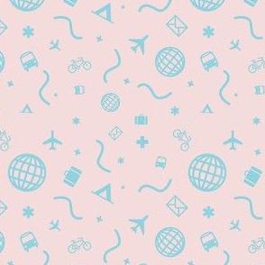 Cityicons Postmodern Travel Print - Pink/Blue